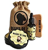 TOBACCO HAVANA | 2oz BEARD BALM Conditioner + 1oz OIL + WOOD COMB + SACK By BEARD of GOD | Organic & Natural Ingredients - Moisturizes Beard Hair and Skin & Eliminates Itching and Dandruff
