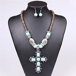 Winson Fashion Jewelry Set Women Blue Turquoise Cross Pendant Necklace Earring Set