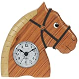 Horse Clock : Handcrafted Wooden Christmas Present Idea : On/off alarm switch on reverse : Top Hand Painted Gifts for Boys, Girls, Kids, Children & Fun Loving Adults! : 1 Train, 1 Bird & 7 Animal Designs Available : Height approx 12cm