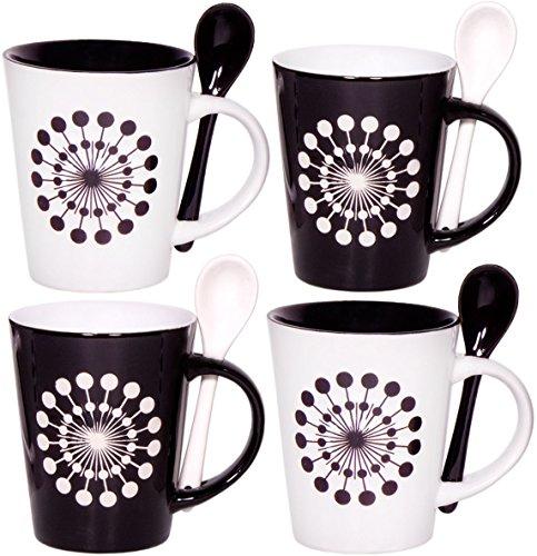 Cafe Style 10 Oz Coffee Mug and Spoon, (Set of 4), Black, White (Black White Coffee Mug compare prices)