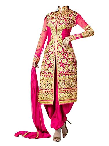 New Dark Pink Patialas Style Embroidery Work With Georgette Designer Suit