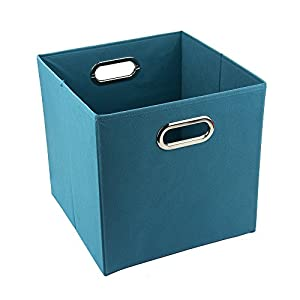 12 inch solid nonwoven large foldable storage cube turquoise. Black Bedroom Furniture Sets. Home Design Ideas