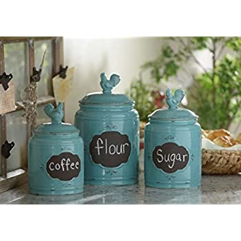 Set of 3 Durable Blue Chalkboard Rooster Canister Set with Tight Lids for Kitchen or Bathroom, Food Storage Containers, Ceramic,Aqua,
