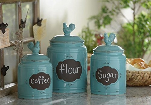 Set of 3 Durable Blue Chalkboard Rooster Canister Set with Tight Lids for Kitchen or Bathroom, Food Storage Containers, Ceramic,Aqua, 1