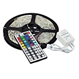 eBoTrade Dirct® New Version 16.4ft 5M Waterproof Flexible strip 300leds Color Changing RGB SMD5050 LED Light Strip Kit RGB 5M + 44Key Remote Controller