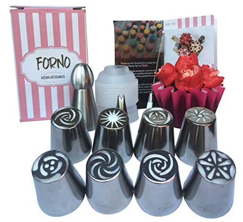 Unique Set of Russian Piping Tips by Forno 12 PIECE SET (8 Different Flower Nozzles + Matching COUPLER + Double Sided Cleaning Brush + Sphere Tip + Small Leaf Tip) Instruction Book Included (Sugar Free Cream Cheese Frosting compare prices)