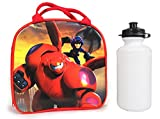 Disney Pixar Big Hero 6 Lunch Bag w/ Water Bottle & Adjustable Strap Hiro & Baymax (Red)