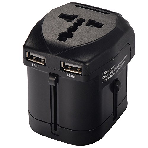 Mudder Us Uk Eu Au Universal All In One International Travel Power Plug Adapter Charger (Max1750W) With 2.5A Dual Usb Charger For Ipad 4, Mini, Air; Iphone 4S, 5S, 5C, 4; Samsung Galaxy Tab 2, 3; Galaxy Note 3, 2; Galaxy S5,S4, S3; Htc One Etc.