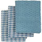 Linens Limited Terry Towelling Cotton Kitchen Tea Towels, Blue/White, 3 Pack