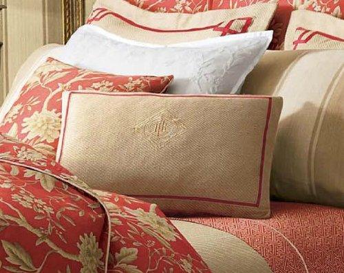 Lauren By Ralph Lauren Bedding Villa Camelia Natural Applique Crest Throw Pillow 15 X 20 Inches front-1052240
