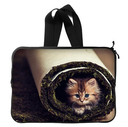 Cute Funny Cat 13 Inch Laptop Sleeve Bag With Hidden Handle For Laptop / Notebook / Ultrabook / Macbook front-23317