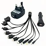 Mobile Charger, Multi Charger, Most Mobiles can be charged - Charge in Car OR in Home OR with Computer/Laptop (both plugs provided) - Charger for Nokia, Car Charger, Charger for Samsung, Iphone/iPod Charger, LG Charger, Sony Ericsson Charger, Micro USB Charger, Mini USB Chargerby Mobile Charger, Multi...