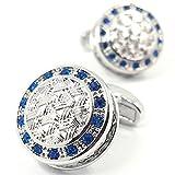 MFYS Jewelry [c-8467] 高品質「S」シリーズ アンティーク風 古典 ケルト サファイア カフス【専用収納ケース付き】