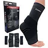 Gonicc Professional Foot Sleeve Pair(2 Pcs) with Compression Wrap Support(Large, Black), Breathable, Stabiling Ligaments, Prevent Re-injury, Boots Circulation, Soothe Achy Feet, Ankle Brace