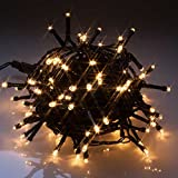 Warm White (soft white) 200 LED Battery Powered Lights - multi-function - indoor and outdoor Christmas lights/lighting
