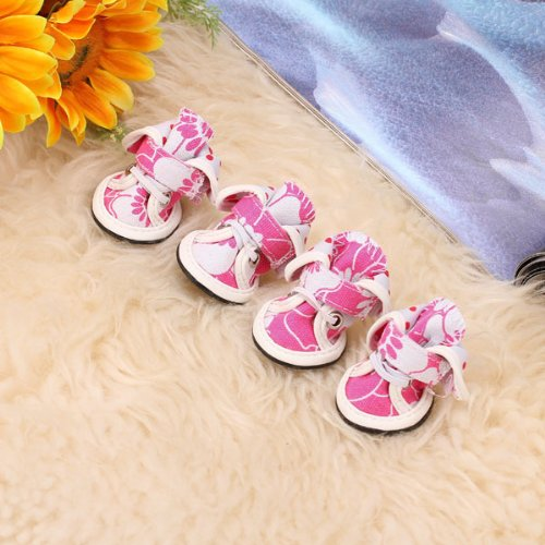 Pet Dog Floral Canvas Boots Shoes Sneakers Velcro Closure Shoe Size (L x W): Approx. 1.7 x 1.5 inch (4.3 x 3.8 cm)