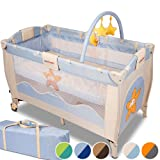 infantastic� KRB02HappyStarfish Baby bed travel cot portable with toys entryway 0-36 months sand / light blueby infantastic�