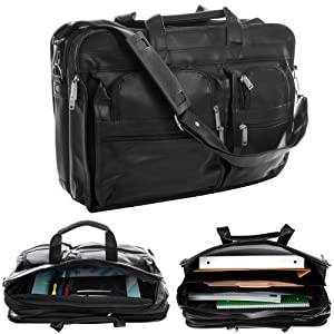 Toppers(TM) 12 Compartment Executive Brief Bag - Black Toppers(TM) 12 Compartment Executive Brief B