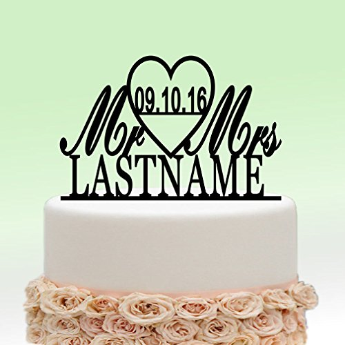 Ivisi Personalized Wedding Cake Topper Monogram Last Name Surname Decoration Anniversary Gift (Design 5)
