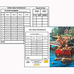 Dog Paddle Bridge Tallies (12 Pack) 2 & 3 Table Progessive