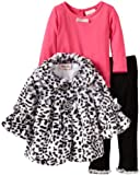Little Lass Baby-girls Infant 3 Piece Animal Printed Faux Fur Jacket Set