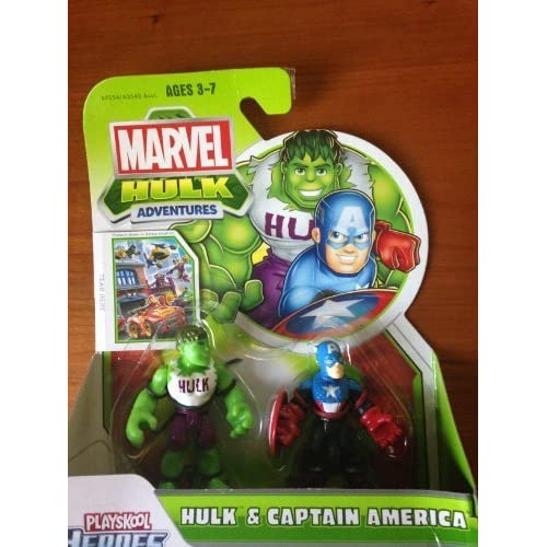 Marvel Playskool Super Hero Adventures Mini Figure 2-Pack Hulk & Captain America by Hasbro (English Manual)