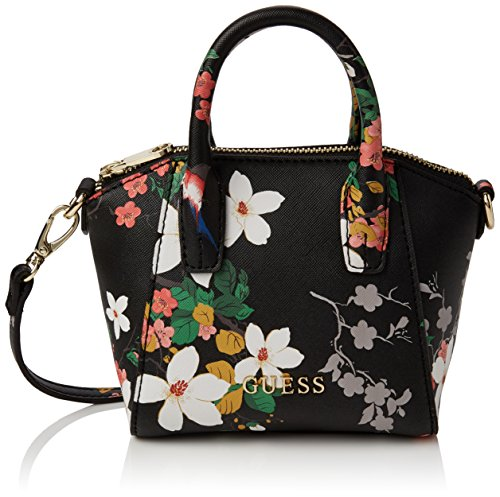 Guess Isabeau Mini Satchel Borsa a Mano, Donna, Nero (Black Multi)