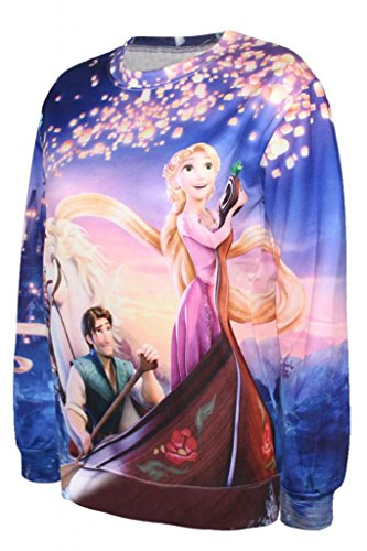 Dear-Lover Women's Disney Cartoon Rapunzel Print Sweatshirt dear zari