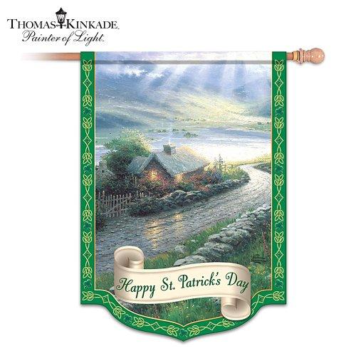 Thomas Kinkade Happy St. Patrick's Day Flag: Irish Wall Decor by The Hamilton Collection