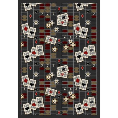 Joy Carpets Games People Play Feeling Lucky Gaming Area Rugs, 129-Inch by 158-Inch by 0.36-Inch, Charcoal