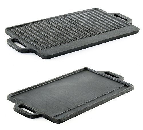 ProSource Kitchen hg-1101-griddle Professional Heavy Duty Reversible Double Burner Cast Iron Grill Griddle, 20 by 9-Inch, Black (Double Stovetop Griddle compare prices)