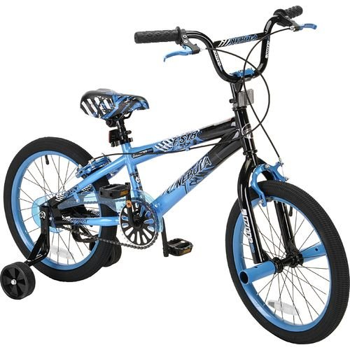 """Pacific 500 Boys Nebula 18"""" Freestyle Bmx Bicycle, Blue / Black With Training Wheels front-1000881"""