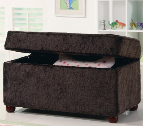 Kids Storage Bench In Fuzzy Brown Fabric Storage Ottoman Bench