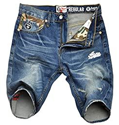 Men\'s Fashion Ripped Distressed Printed Denim Shorts Blue 36