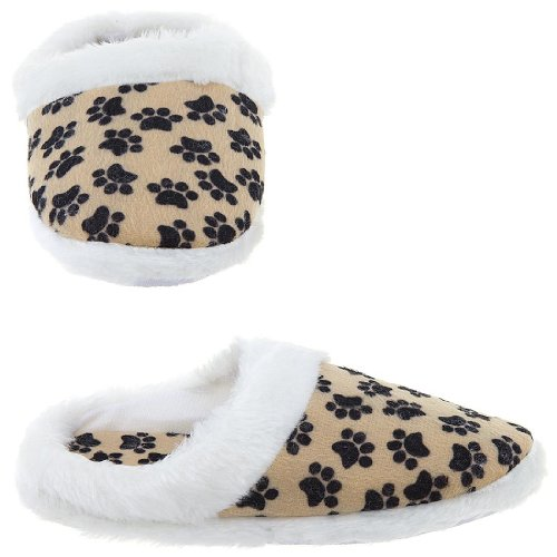 Cheap Paw Print Slippers for Women (B009TH378C)