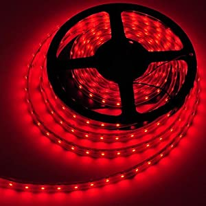 LEDwholesalers 16.4 feet 300 SMD LED Flexible Strip,Waterproof, 12 Volt LED Ribbon 5 Meter Reel Red, 2047RD