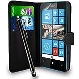 Nokia Lumia 520 Black Leather Wallet Flip H�lle Tasche + Touch Pen Stylus + Display Schutzfolie & Poliertuch