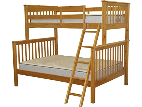 Superb Bedz King Bunk Bed Twin Over Full Mission Style Honey