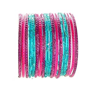 Beachcombers! Ethnic Glass Indian Wedding Bridal Bollywood Bangles Belly Dance Bracelets Set Turquoise