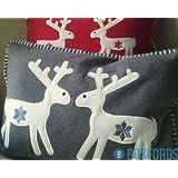 Paoletti Reindeer Scandinavian Christmas Wool Boudoir Cushion Cover, Grey, 35 x 50 Cm