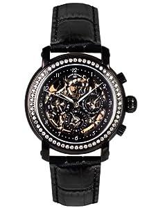 André Belfort 410143 - Reloj analógico de mujer automático con correa de piel negra - sumergible a 50 metros