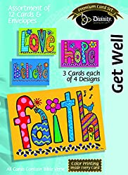 Divinity Boutique Greeting Card Assortment: Get Well, Big Flowery Word with Scripture (21703N) by Divinity