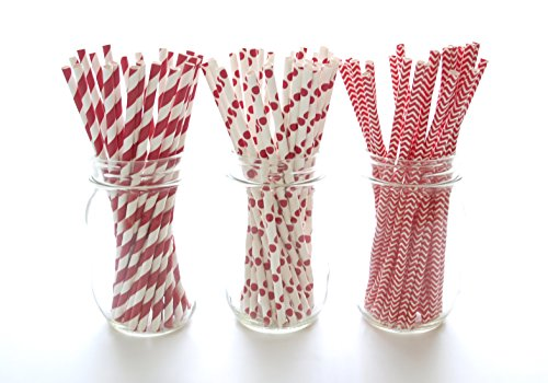 Red Wedding Straws, Christmas Party Supplies, Red and White Drinking Straws, Tall Paper Straws (75 Pack) - Holiday Red Striped, Polka Dot & Chevron Straws