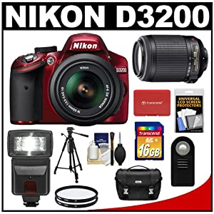Nikon D3200 Digital SLR Camera & 18-55mm G VR DX AF-S Zoom Lens (Red) + 55-200mm VR Lens + 16GB Card + Flash + Case + Filters + Remote + Tripod + Accessory Kit