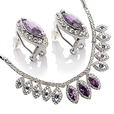 Amethyst or Siam Red Tiered Pear Drops Jewellery Set, Necklace & Matching Earrings.Beautiful Arrangement of Large Marquise Crystals Surrounded by Clear Diamond Swarovskis. Classic Timeless Jewellery Gift Set for Christmas & Anniversaries. Stunning