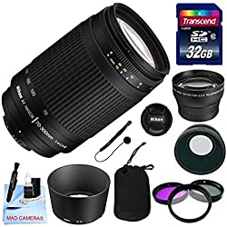 Nikon Lens Kit With Nikon AF Telephoto Zoom NIKKOR 70-300mm f/4-5.6 G Lens (62mm Thread) + 32GB Transcend SD Card- for Nikon DSLR Cameras + 3 Piece Filter Kit + Auxiliary Lenses