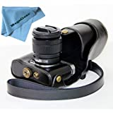 """MegaGear """"Ever Ready"""" Protective Black Leather Camera Case , Bag for Fujifilm X-M1 (XM1, X-a1) Fujifilm X-A2 Compact System with 16-50mm Lens"""