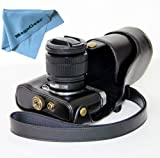 "MegaGear ""Ever Ready"" Protective Black Leather Camera Case, Bag for Fujifilm X-M1 (XM1, X-a1) Compact System with 16-50mm Lens"