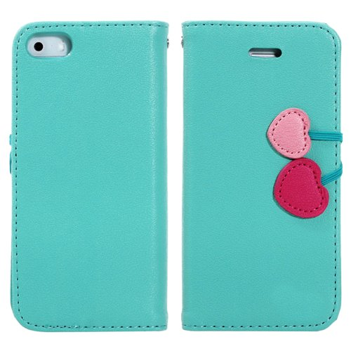 Mylife Sky Blue Love Cherry Design - Textured Koskin Faux Leather (Card And Id Holder + Magnetic Detachable Closing) Slim Wallet For Iphone 5/5S (5G) 5Th Generation Smartphone By Apple (External Rugged Synthetic Leather With Magnetic Clip + Internal Secur