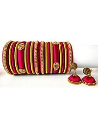 Pink with gold color silk thread bangles set - Ovis Creations 3 Step Silk Thread Jumkka Silk Dori Jhumki